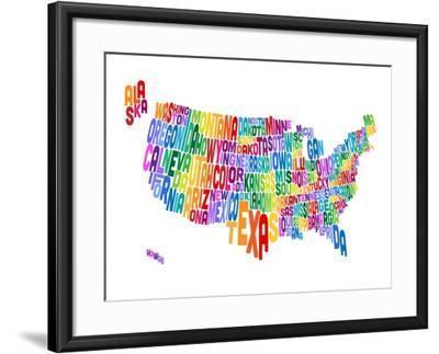 United States Typography Text Map-Michael Tompsett-Framed Art Print