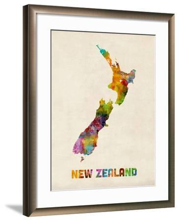 New Zealand, Watercolor Map-Michael Tompsett-Framed Art Print