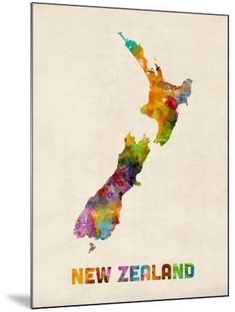New Zealand, Watercolor Map-Michael Tompsett-Mounted Art Print