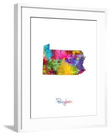 Pennsylvania Map-Michael Tompsett-Framed Art Print