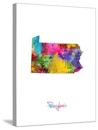 Pennsylvania Map-Michael Tompsett-Stretched Canvas Print