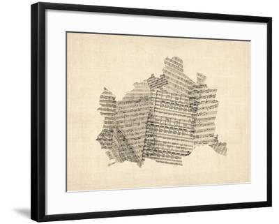 Old Sheet Music Map of Vienna Austria Map-Michael Tompsett-Framed Art Print