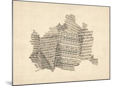 Old Sheet Music Map of Vienna Austria Map-Michael Tompsett-Mounted Art Print