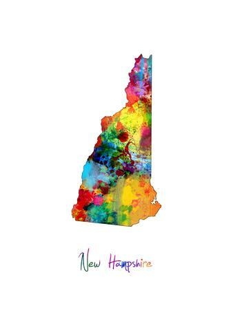 New Hampshire Map-Michael Tompsett-Art Print