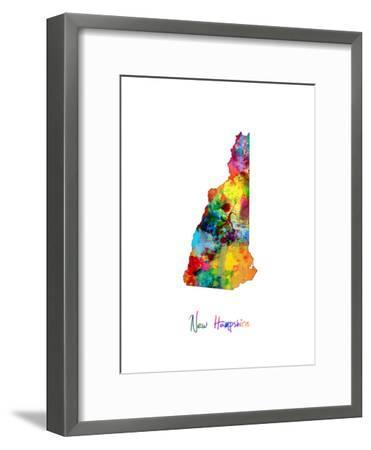 New Hampshire Map-Michael Tompsett-Framed Art Print