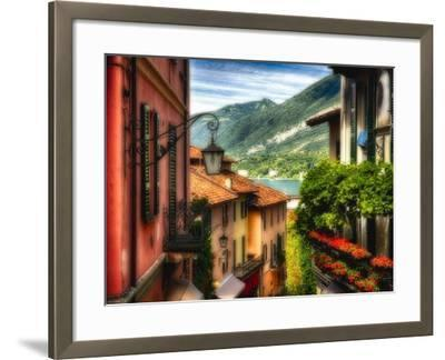 Charming Street Scene in Bellagio II-George Oze-Framed Photographic Print