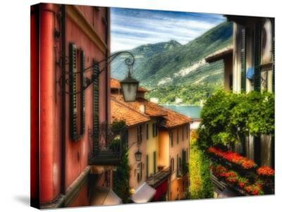 Charming Street Scene in Bellagio II-George Oze-Stretched Canvas Print
