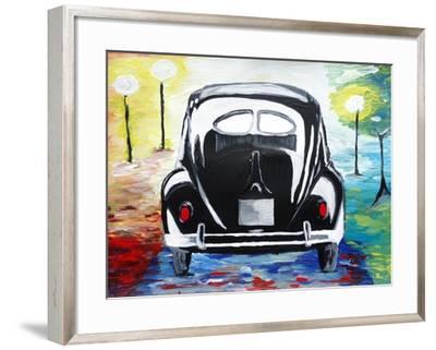 Surf VW Bug Series - The Black Volkswagen Bug Split Window-Martina Bleichner-Framed Art Print