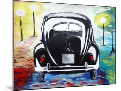Surf VW Bug Series - The Black Volkswagen Bug Split Window-Martina Bleichner-Mounted Art Print