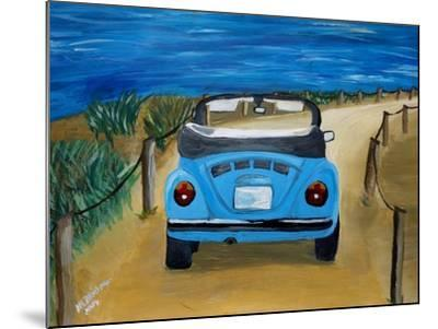 The VW Bug Series - The Blue Volkswagen Bug at the Beach-Martina Bleichner-Mounted Art Print