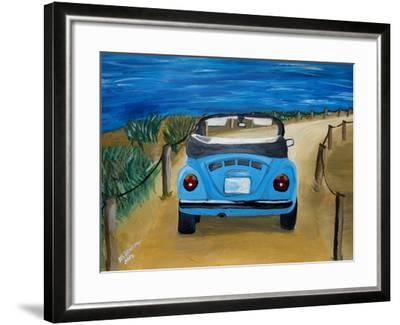 The VW Bug Series - The Blue Volkswagen Bug at the Beach-Martina Bleichner-Framed Art Print