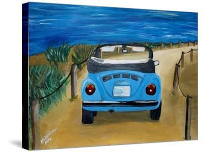 The VW Bug Series - The Blue Volkswagen Bug at the Beach-Martina Bleichner-Stretched Canvas Print