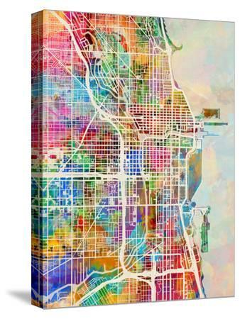 Chicago City Street Map-Michael Tompsett-Stretched Canvas Print