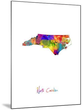 North Carolina Map-Michael Tompsett-Mounted Art Print
