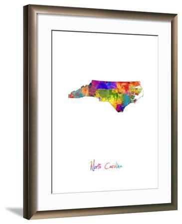 North Carolina Map-Michael Tompsett-Framed Art Print