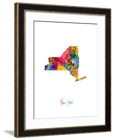 New York Map-Michael Tompsett-Framed Art Print