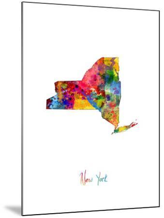 New York Map-Michael Tompsett-Mounted Art Print