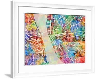 Liverpool England City Street Map-Michael Tompsett-Framed Art Print