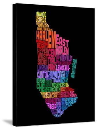 Manhattan New York Typography Text Map-Michael Tompsett-Stretched Canvas Print