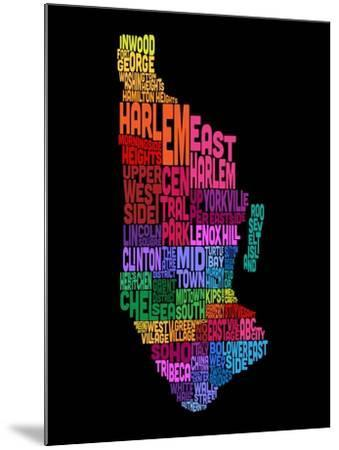 Manhattan New York Typography Text Map-Michael Tompsett-Mounted Art Print