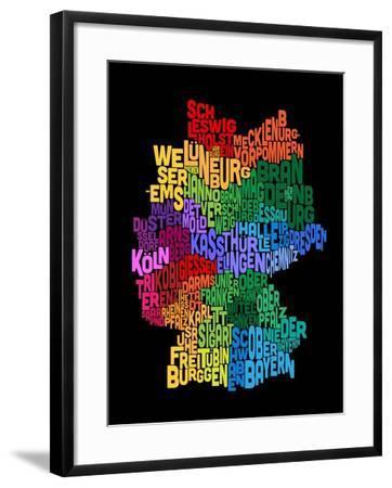 Text Map of Germany Map-Michael Tompsett-Framed Art Print