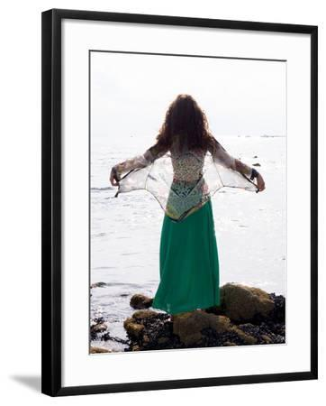 Young Woman Looks Out To Sea-Charles Bowman-Framed Photographic Print