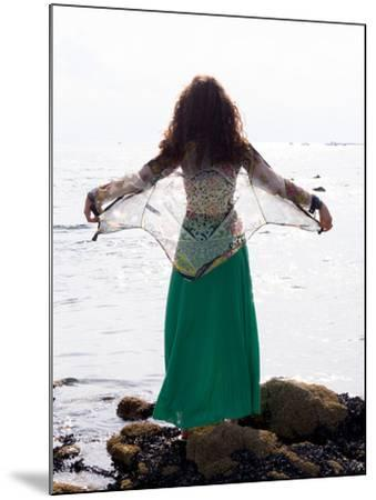Young Woman Looks Out To Sea-Charles Bowman-Mounted Photographic Print