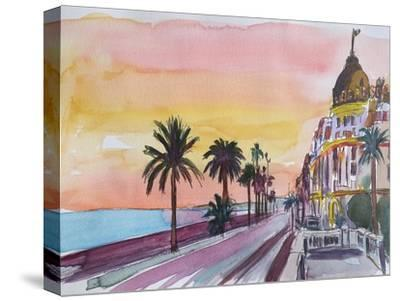 Nice France Seaview Boulevard at Sunset-Markus Bleichner-Stretched Canvas Print