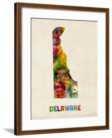 Delaware Watercolor Map-Michael Tompsett-Framed Art Print