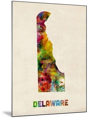 Delaware Watercolor Map-Michael Tompsett-Mounted Art Print