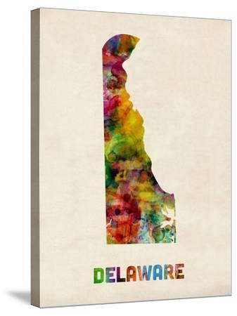 Delaware Watercolor Map-Michael Tompsett-Stretched Canvas Print