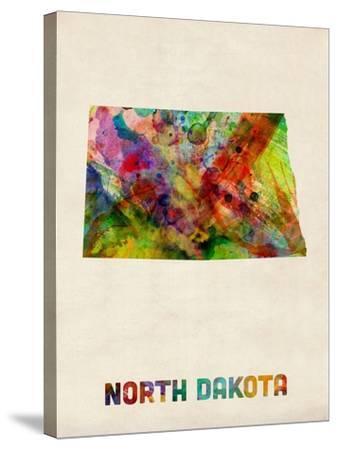 North Dakota Watercolor Map-Michael Tompsett-Stretched Canvas Print