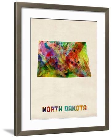 North Dakota Watercolor Map-Michael Tompsett-Framed Art Print