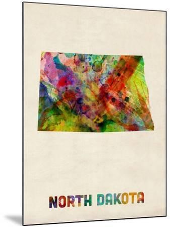 North Dakota Watercolor Map-Michael Tompsett-Mounted Art Print