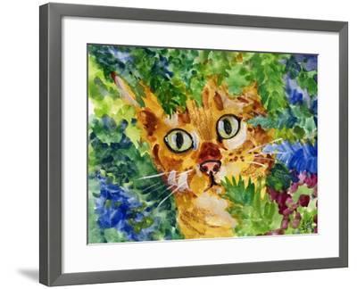 Hiding Tabby Cat-sylvia pimental-Framed Art Print