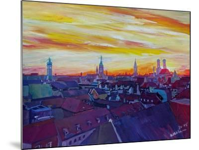 Munich Skyline with Burning Sky at Sunset-Markus Bleichner-Mounted Art Print