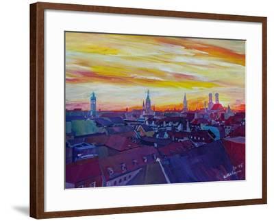 Munich Skyline with Burning Sky at Sunset-Markus Bleichner-Framed Art Print