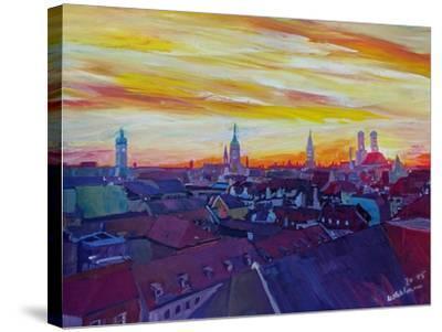 Munich Skyline with Burning Sky at Sunset-Markus Bleichner-Stretched Canvas Print