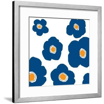 Blue Pop Flowers-Jan Weiss-Framed Art Print