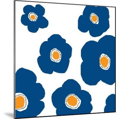 Blue Pop Flowers-Jan Weiss-Mounted Art Print