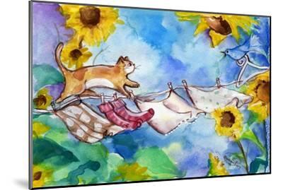 Yellow Tabby Cat Walking on Clothesline-sylvia pimental-Mounted Art Print
