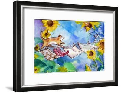 Yellow Tabby Cat Walking on Clothesline-sylvia pimental-Framed Art Print