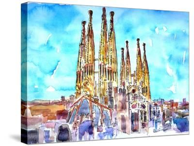 Sagrada Famila in Barcelona with Blue Sky-Markus Bleichner-Stretched Canvas Print