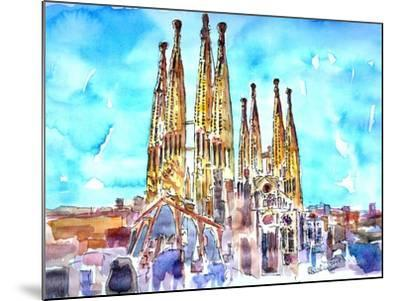 Sagrada Famila in Barcelona with Blue Sky-Markus Bleichner-Mounted Art Print