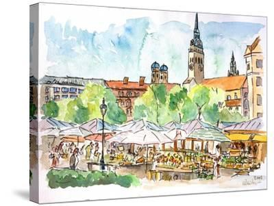 Munich Market Scene with Trees and Church-Markus Bleichner-Stretched Canvas Print