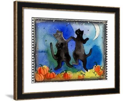 Dancing Black Cats Halloween-sylvia pimental-Framed Art Print