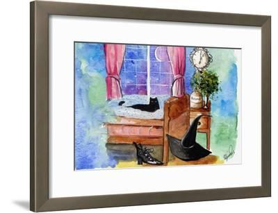 Halloween cat witch hat potions-sylvia pimental-Framed Art Print