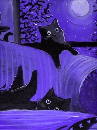 Purple Halloween Black Cats Witch Feet-sylvia pimental-Framed Art Print