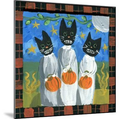 Folk Art Black Cats Halloween-sylvia pimental-Mounted Art Print