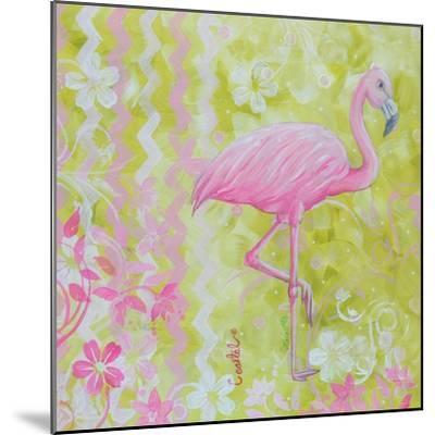 Green and Pink Flowers Flamingo Bird-Megan Aroon Duncanson-Mounted Art Print